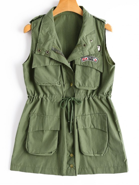 womens Drawstring Field Waistcoat - ARMY GREEN ONE SIZE