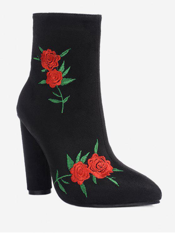 hot Rose Embroidery Ankle Boots - BLACK 35