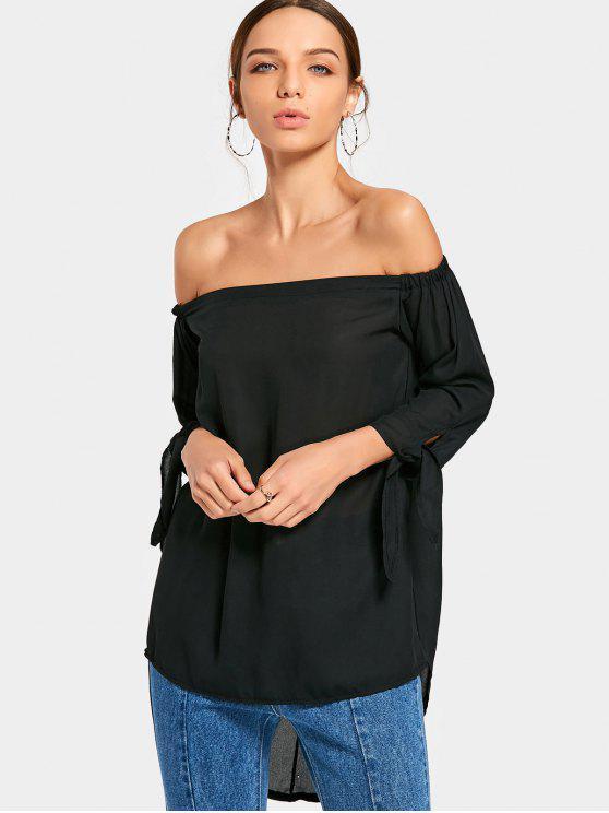 fancy Off Shoulder Chiffon High Low Blouse - BLACK L