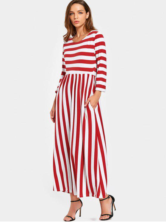 Round Collar Striped Maxi Dress RED: Casual Dresses L | ZAFUL