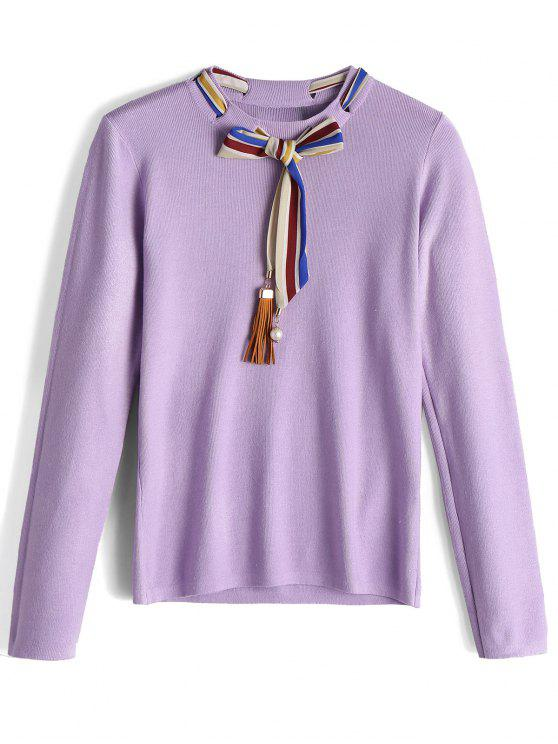 latest Fitting Bow Tied Fringed Sweater - PURPLE ONE SIZE