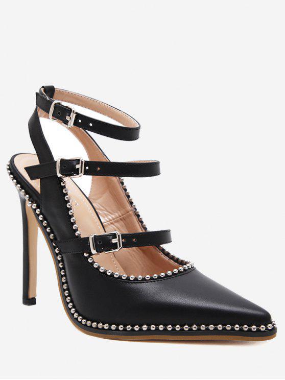 women Buckle Straps Stud Ankle Strap Pumps - BLACK 40