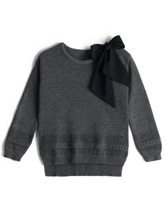 pull over col rond epaule ouverte et noeud contrastant gris pulls taille unique zaful. Black Bedroom Furniture Sets. Home Design Ideas