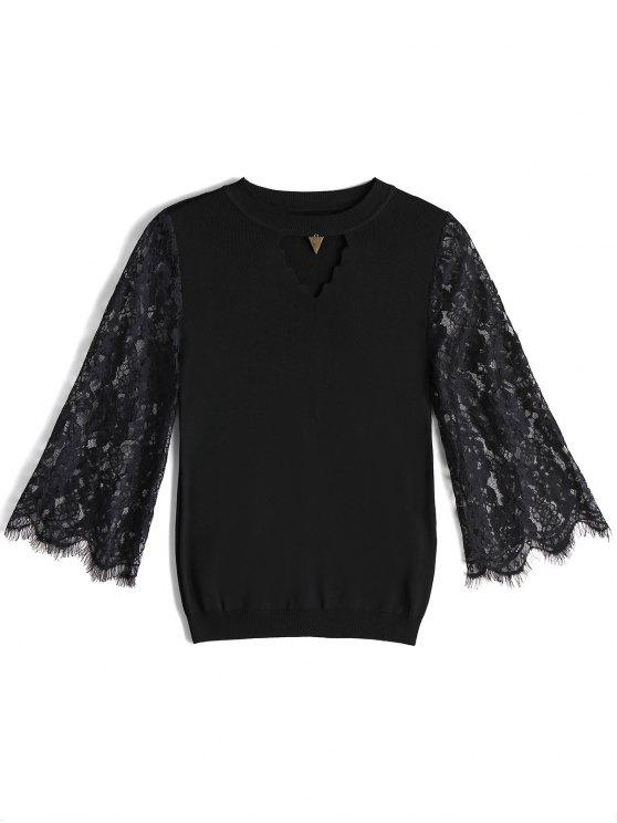 women Keyhole Sheer Lace Sleeve Knitwear - BLACK ONE SIZE