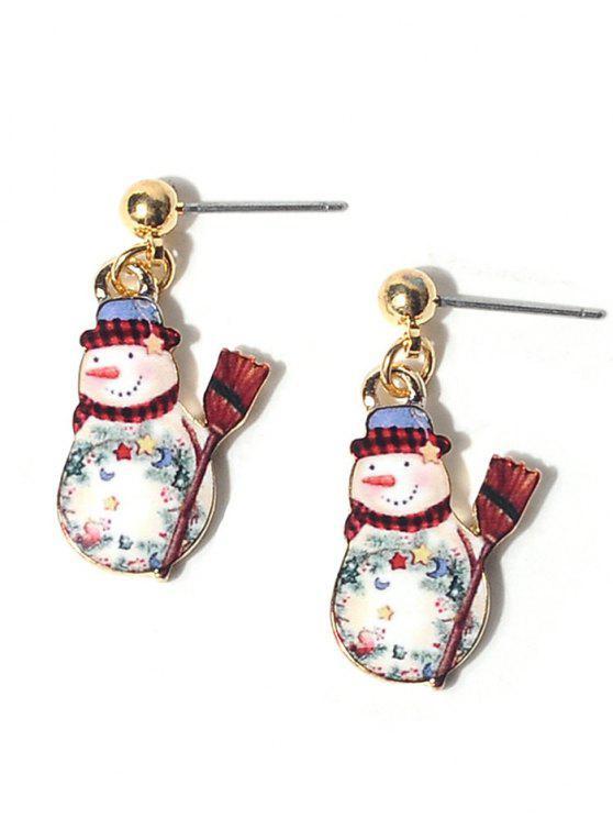 Alloy Ball Christmas Snowman Earrings - Cor Mistura