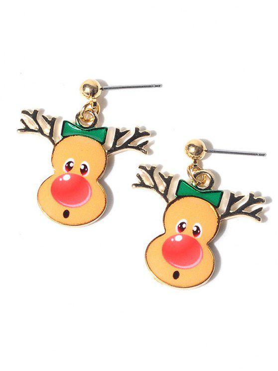 womens Christmas Elk Earrings - YELLOW
