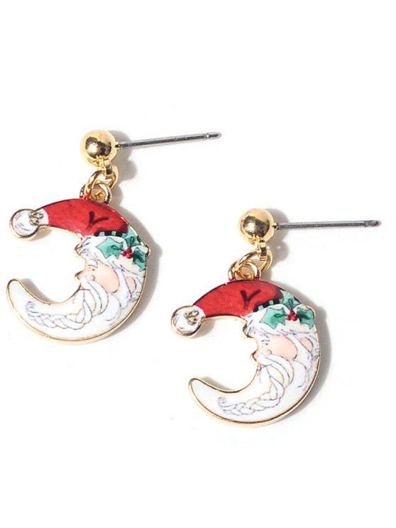 shop Christmas Santa Moon Earrings - WHITE