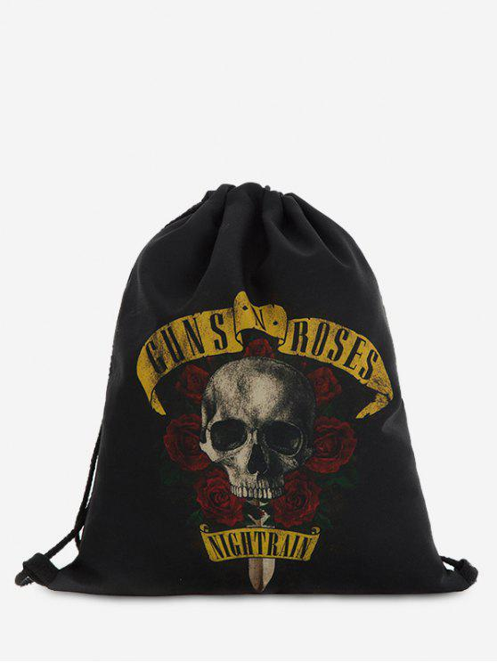 Roses Skull Drawstring Backpack - Preto