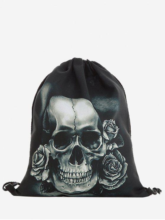 Rucksack mit Kordelzug , Rosen und Schädeldruck - Grau