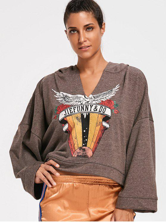 ladies Slouchy Printed Hoodie - COFFEE L