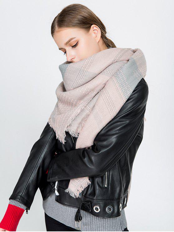 chic Fringed Plaid Knit Blanket Scarf - PINK
