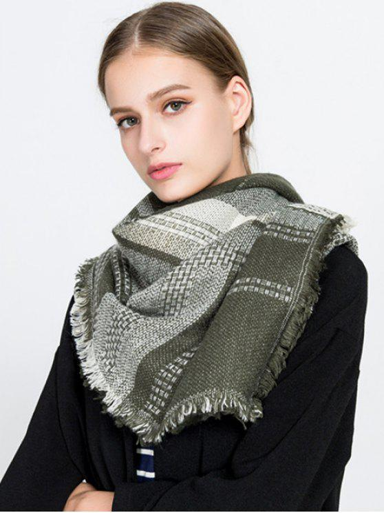 womens Fringed Plaid Knit Blanket Scarf - ARMY GREEN