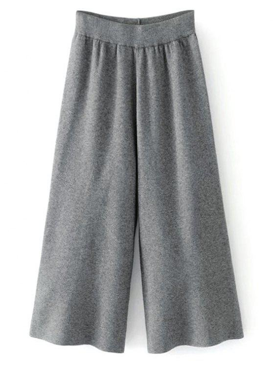 Pantalon Gaucho à Taille Haute - gris foncé Taille Unique