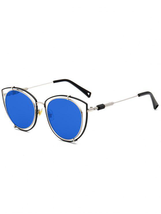 Hollow Out Double Rims Óculos de gato Óculos de sol - Azul