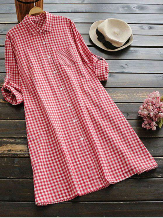 outfits Button Up Plaid Pocket Dress - RED ONE SIZE