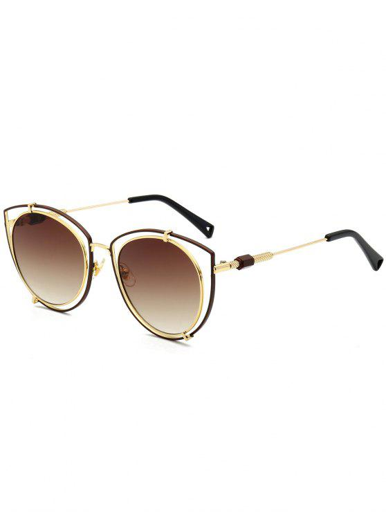 shop Hollow Out Double Rims Cat Eye Sunglasses - TEA-COLORED
