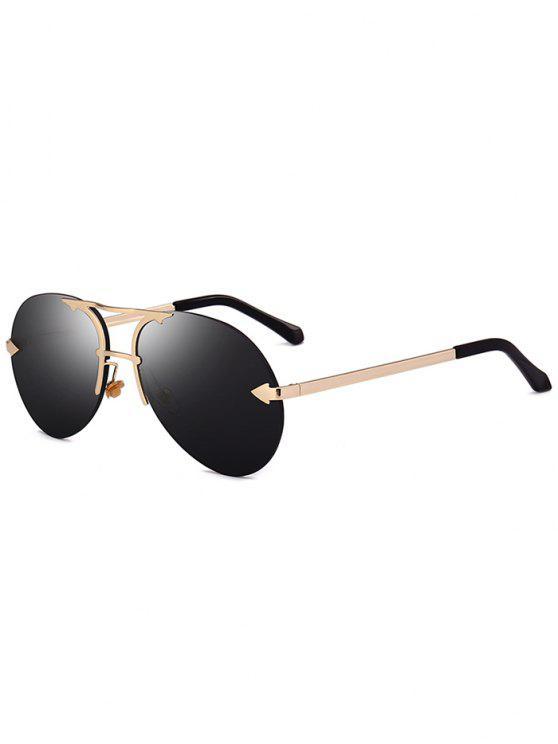 Alloy Panel Rimless Pilot Sunglasses - Preto