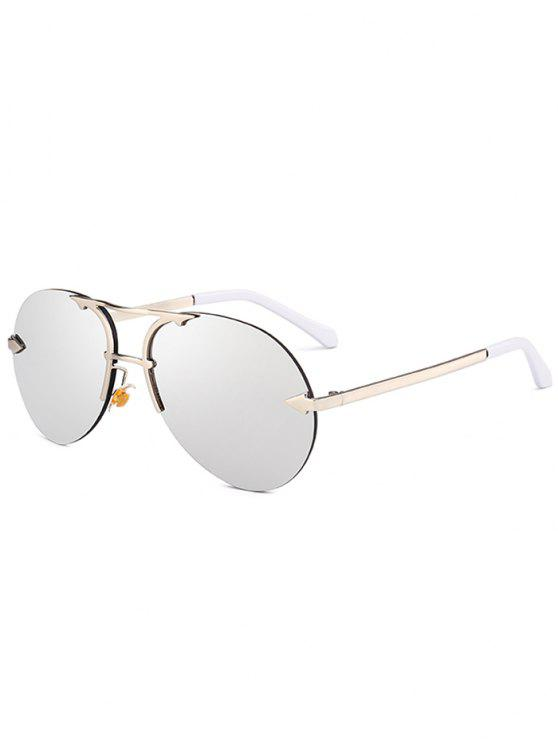 Alloy Panel Rimless Pilot Sunglasses - Prata