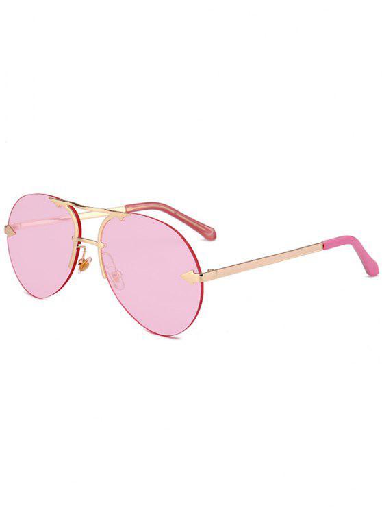 Occhiali Da Sole Da Pilota Non Cerchiati Abbelliti A Lega - Struttura Oro + Lente Rosa