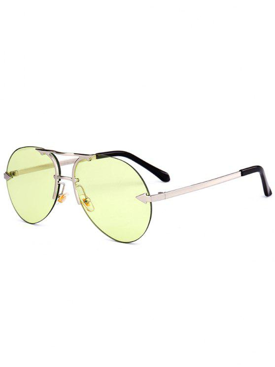 Alloy Panel Rimless Pilot Sunglasses - Amarelo