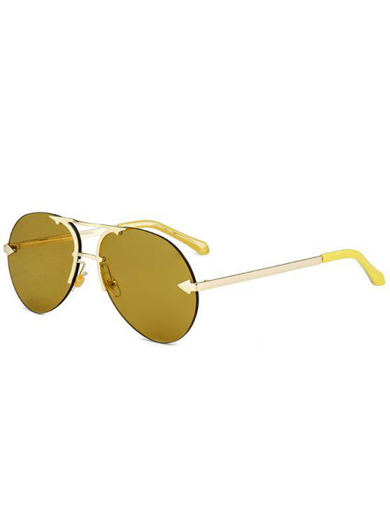 Alloy Panel Rimless Pilot Sunglasses - Cor de Ouro de Luxo