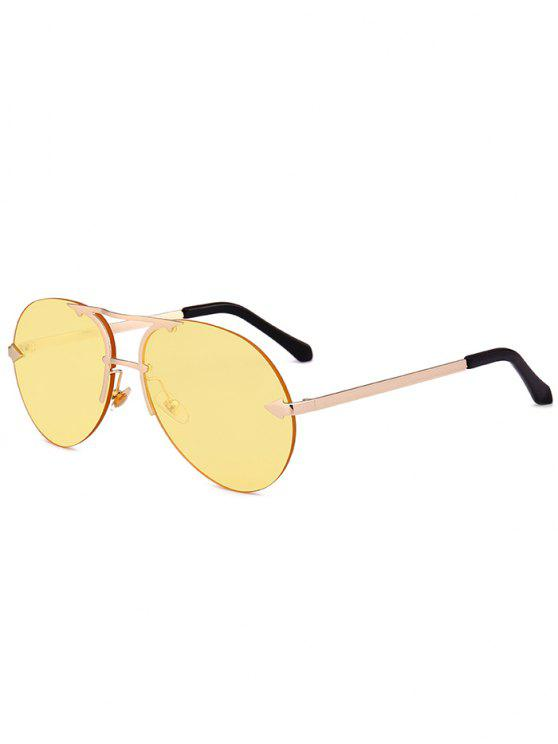 women's Alloy Panel Rimless Pilot Sunglasses - GOLDEN