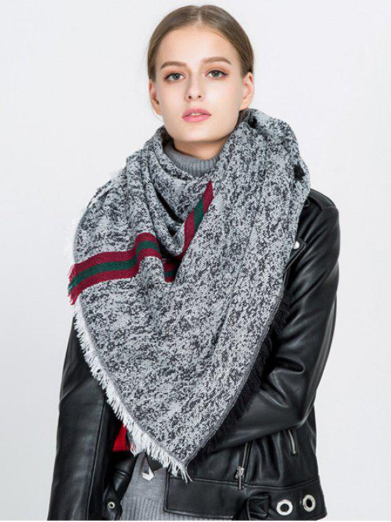 womens Stripe Panel Fringed Blanket Scarf - BLACK