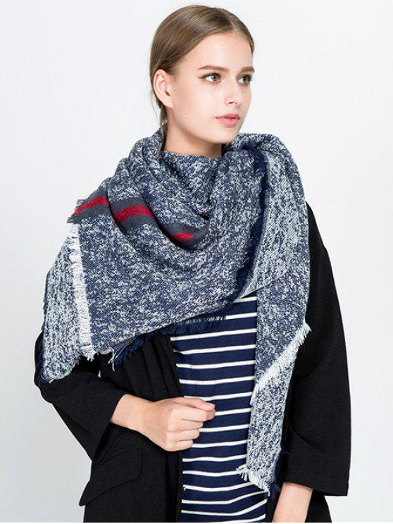 women Stripe Panel Fringed Blanket Scarf - CADETBLUE