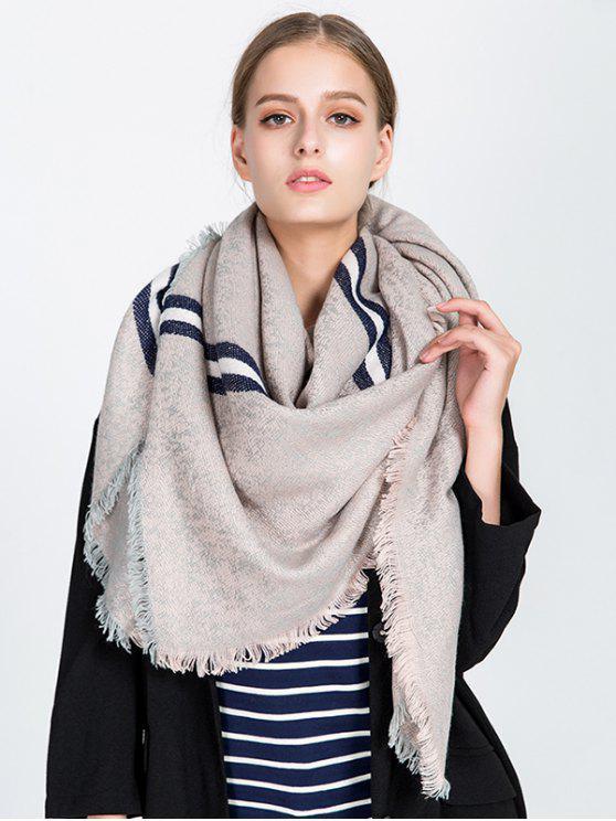 women's Stripe Panel Fringed Blanket Scarf - KHAKI