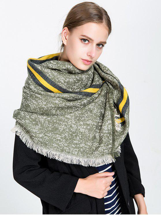 ladies Stripe Panel Fringed Blanket Scarf - BLACKISH GREEN