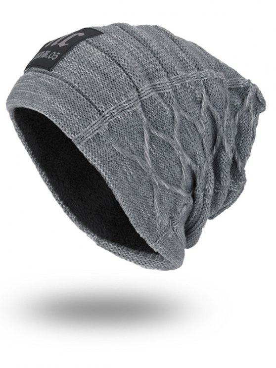 Épaissé un chapeau à tricoter à double face avec étiquette de lettres - Gris