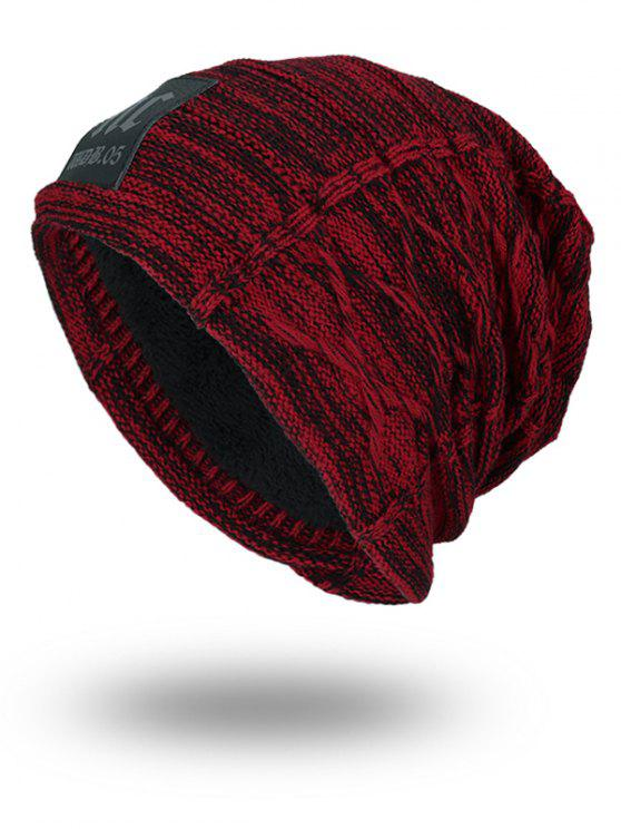trendy Thicken Double-Deck Knit Hat with Letters Label - WINE RED