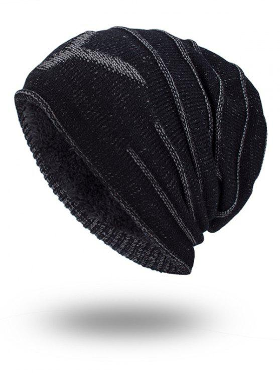 Double-Deck Thicken NY Knit Hat - Preto