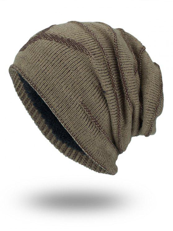 chic Double-Deck Thicken NY Knit Hat - KHAKI
