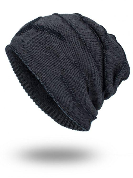 Double-Deck Thicken NY Knit Hat - CINZA ESCURO