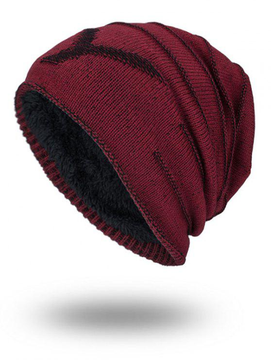 Doble-cubierta Thicken NY Knit Hat - Vino Rojo