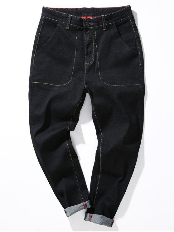 Zipper Fly Loose Fit Suture Bolsillos Harem Jeans - Negro 40