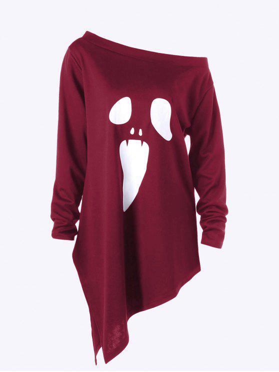 affordable Halloween Plus Size Skew Neck Asymmetric Graphic Sweatshirt -  WINE RED 5XL