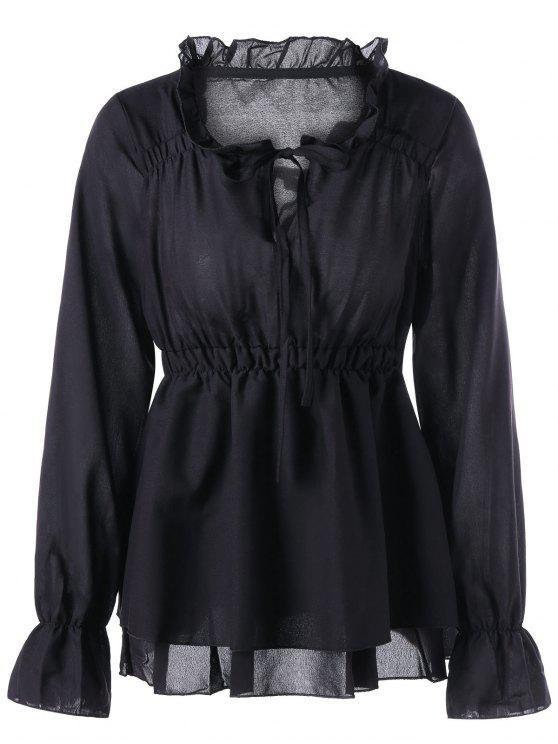 trendy Ruffle Collar Peplum Blouse - BLACK 2XL