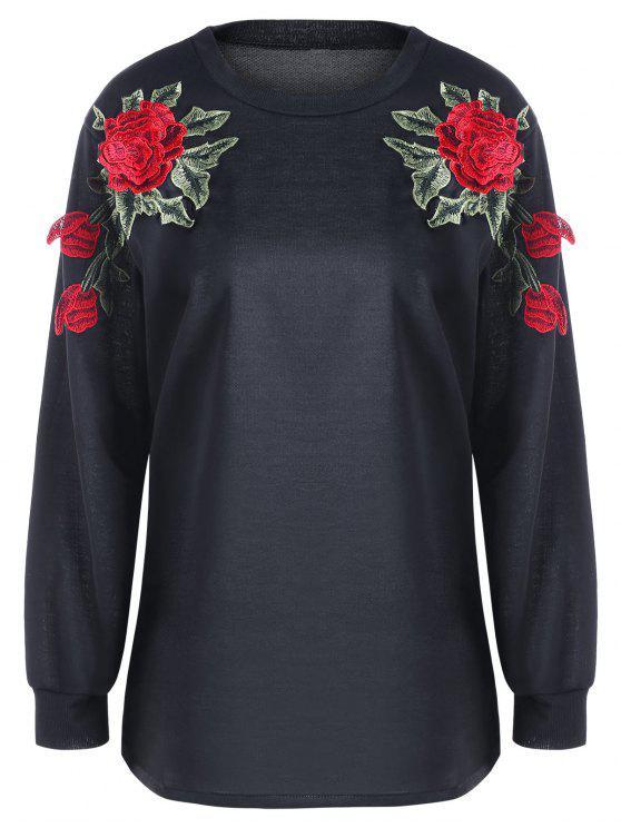 ladies Floral Embroidery Sweatshirt - BLACK M