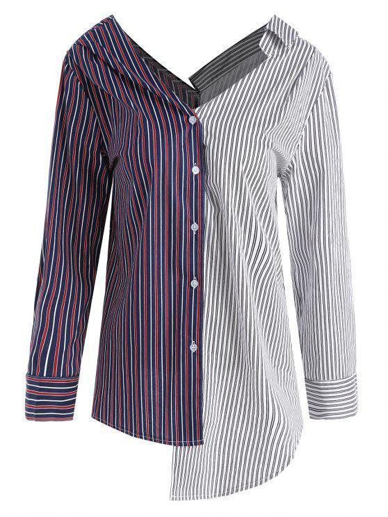 Contraste Rayado Asimétrico Blusa de talla grande - Colores Mezclados 3XL