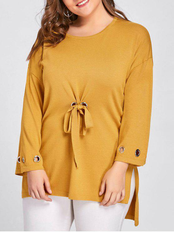 Plus Size Side Slit High Low Sweater - Amarelo Gengibre Tamanho único