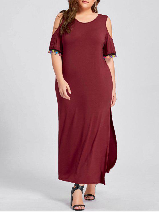 Plus Size Cold Shoulder Pom Slit Maxi Dress WINE RED