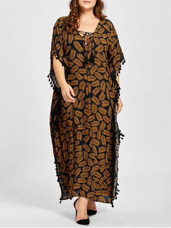 unique Plus Size Lace Up Tassel Leaf Print Poncho Dress - DARK CAMEL 3XL
