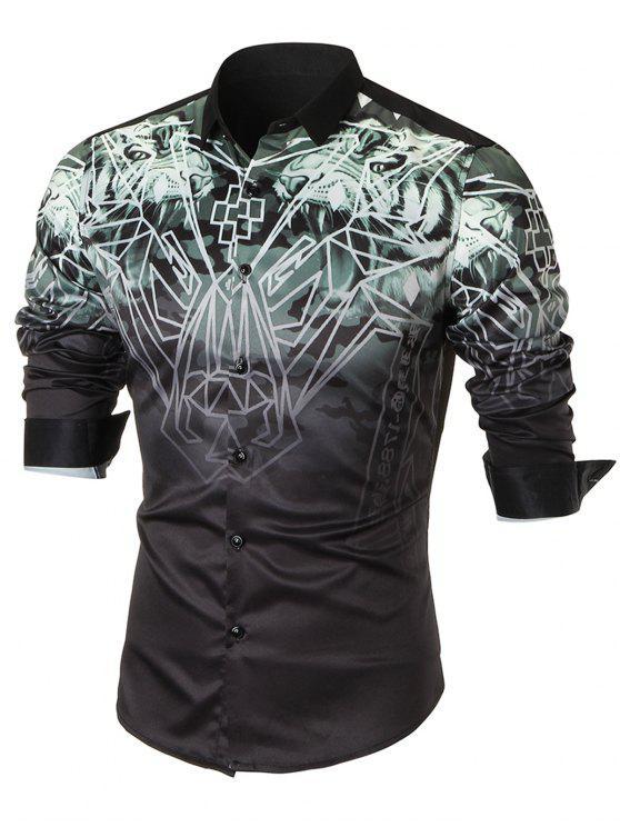 Camiseta de manga larga con estampado de animales - Negro 4XL