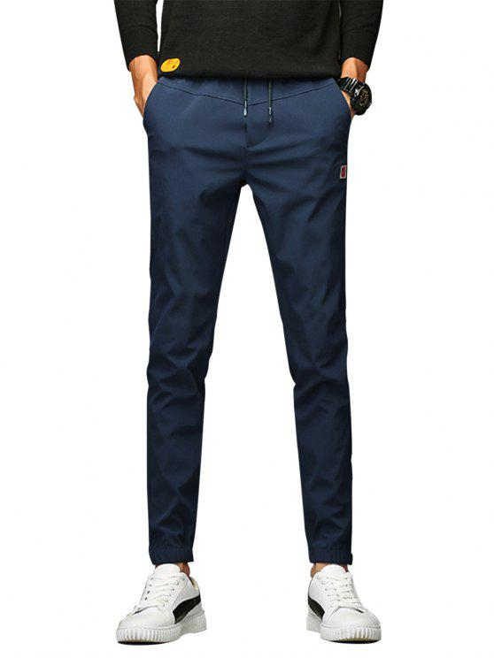 Applique Drawstring Beam Feet Jogger Pants - Azul 30