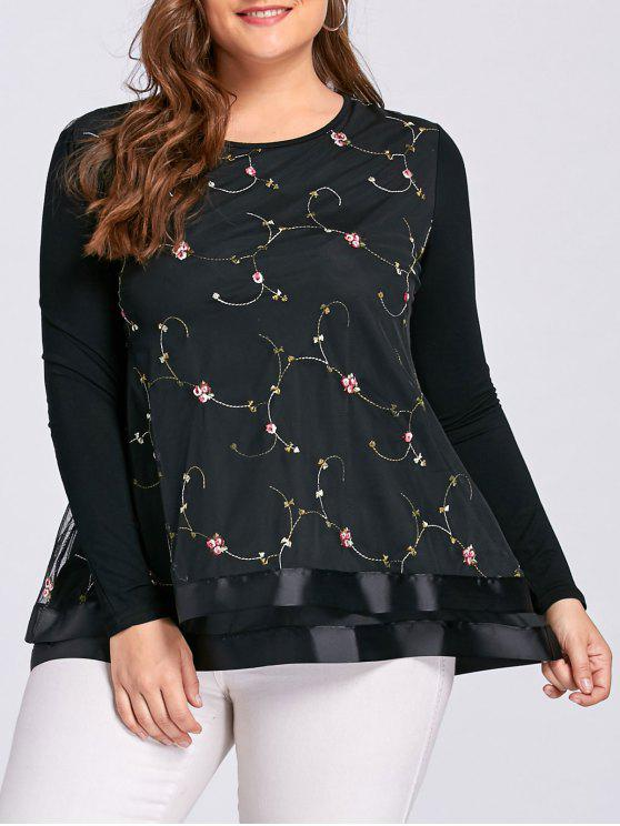 Blusa de punto con bordados florales - Negro 5XL