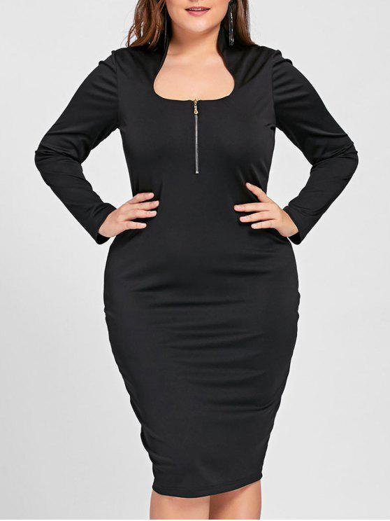 فستان رسمي بسحاب وأكمام طويلة ذو مقاس كبير - أسود 5XL