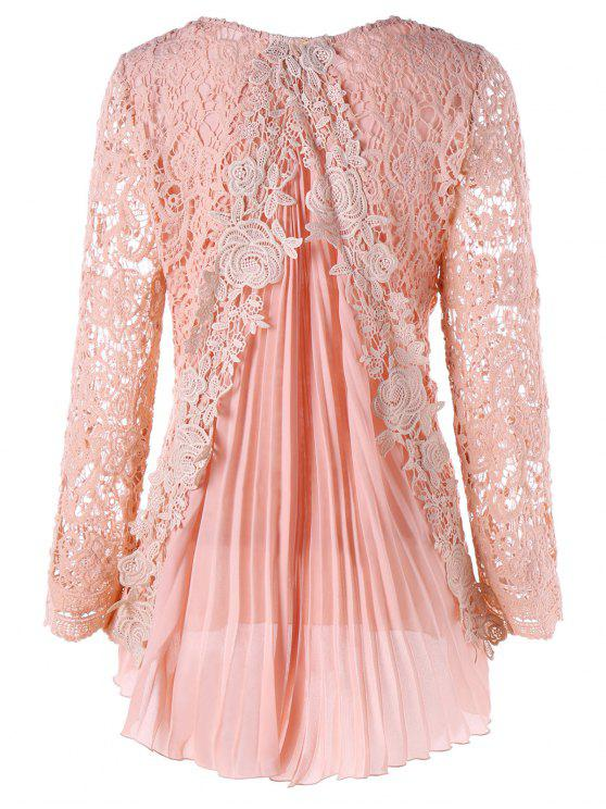 فستان الحجمال كبير عالية انخفاض دانتيل مصغر مطوي - زهري 5XL