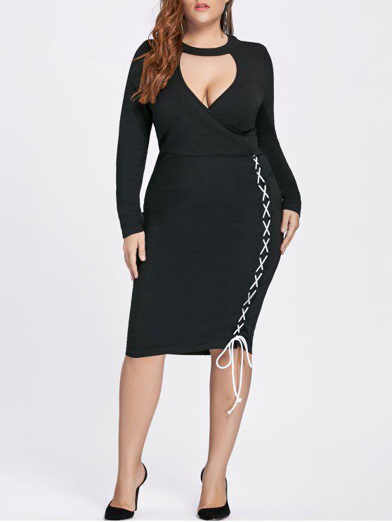 فستان الحجم الكبير رباط ملائم - أسود 5XL